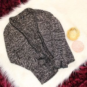 Knit Cardigan w. Leather Accents